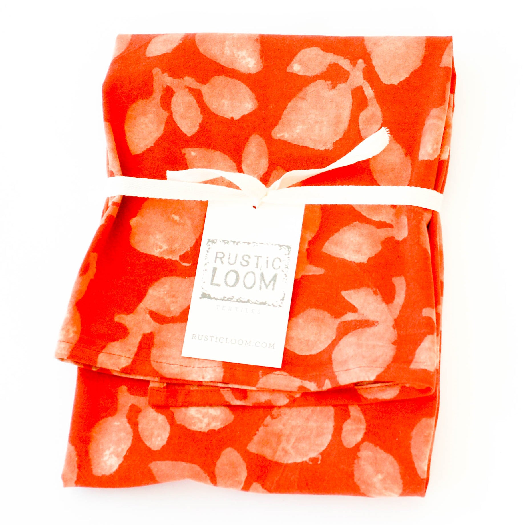 Orange Leaf Cotton Blockprinted Tea Towel