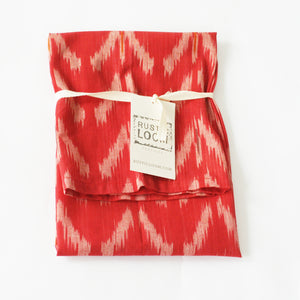 Orange Tulip Cotton Ikat Woven Tea Towel