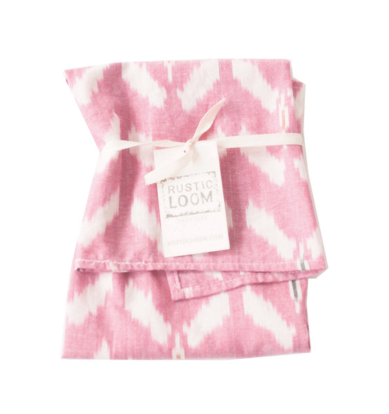 Rose Wine Tulip Cotton Ikat Woven Tea Towel