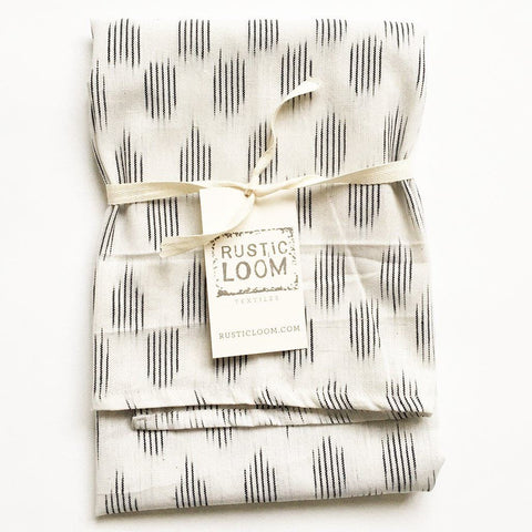 Cotton Woven Ikat Tea Towel White Modern Dot