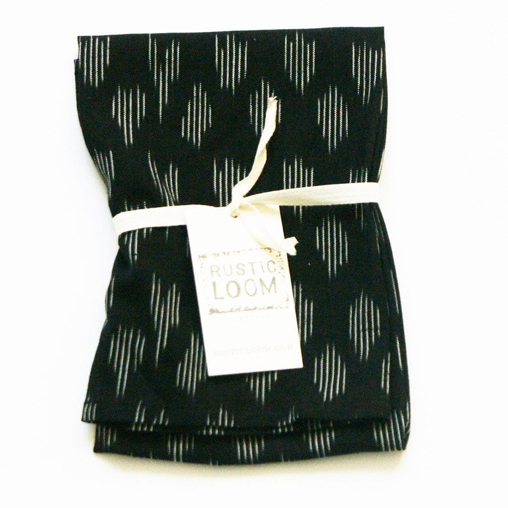 Black Modern Dot Kitchen Towel Cotton Handwoven Ikat