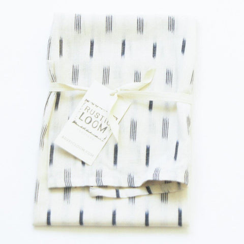 Natural White Grey Square Approx 20x28 Handwoven Dash Ikat Cotton - Tea Towel - Rustic Loom