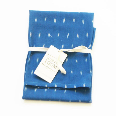 Cobalt Blue Dash Handwoven Cotton Ikat Tea Towel