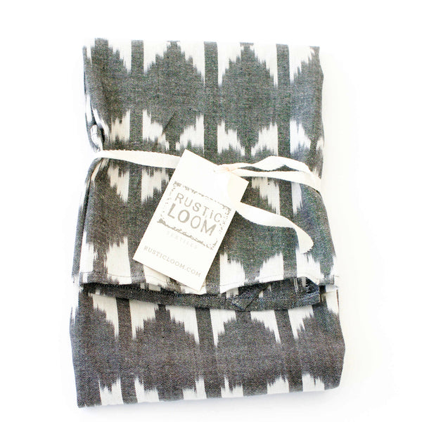 Grey Triangle Cotton Ikat Woven Tea Towel