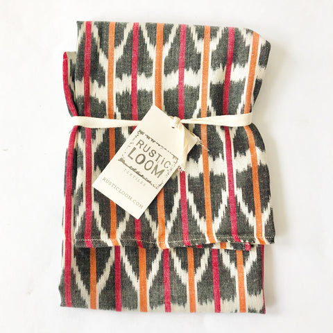 Cotton Ikat Tea Towel Orange Pink Geometric