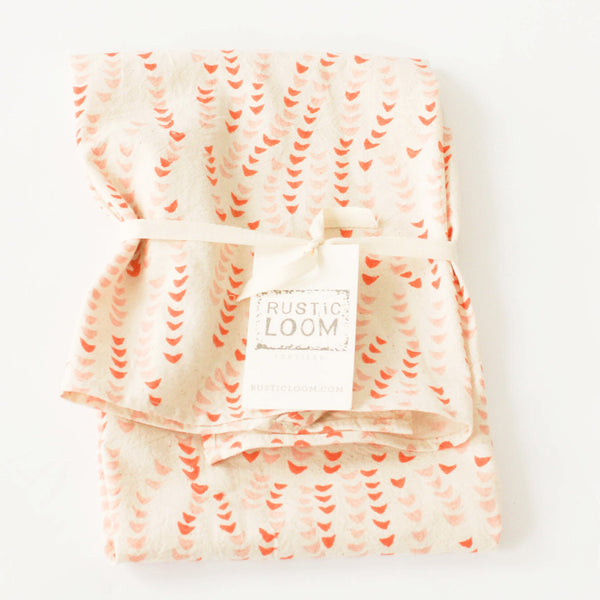 Orange + Pink Leaf Vine Cotton Blockprinted Tea Towel