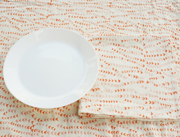 Orange, Pink, White Leaf Vine Cotton Blockprinted Tablecloth