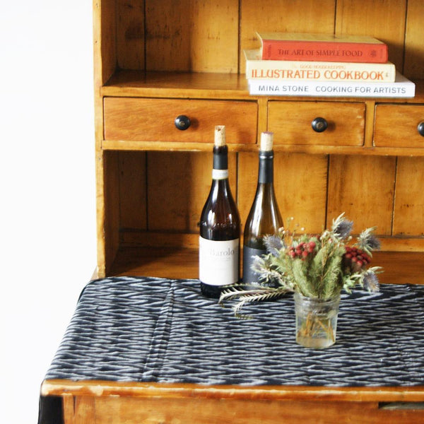 Table Runner Black White Handwoven Cotton Ikat Zig Zag