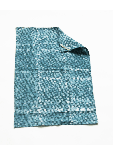 Teal Green Dot Handprinted Batik Linen Kitchen Tea Towel