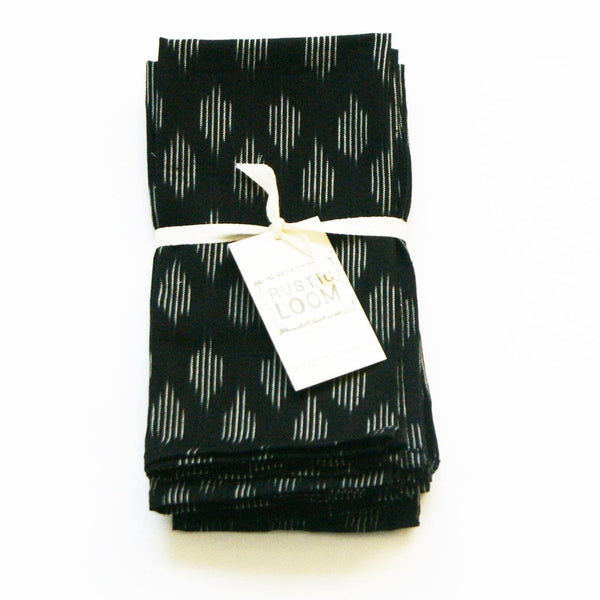 Modern Dot Cloth Dinner Napkins Black Set of 4
