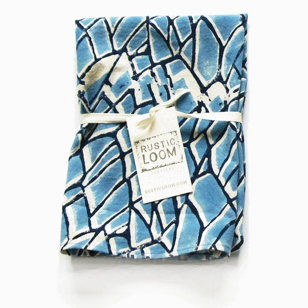 Blue Cotton Blockprint Branch Pattern Tea Towel