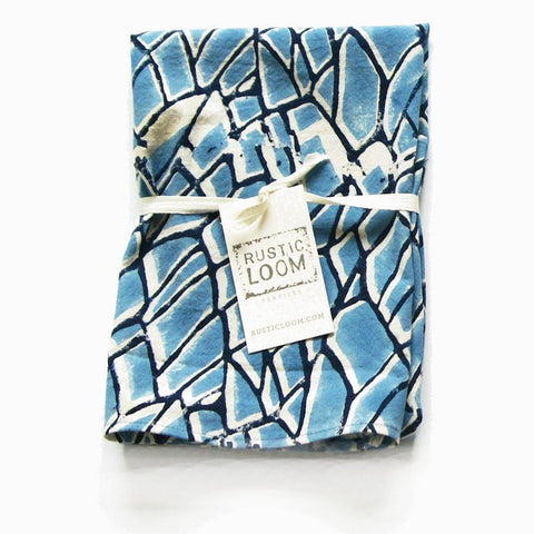 Blue Cotton Branch Pattern Tea Towel