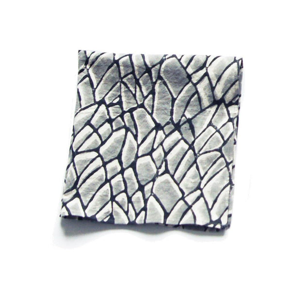 Cotton Block Print Dinner Napkins Grey Branch Set of 4
