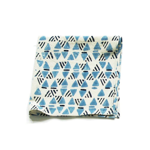 Cotton Geometric Print Dinner Napkins Indigo Blue Triangle Set of 4