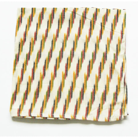 Cream Multi Color Stripe Ikat Dinner Napkins Set of 4