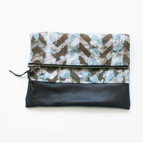 Sale: Fold Over Clutch Brown Leather Chevron Zipper Pouch Evening Clutch