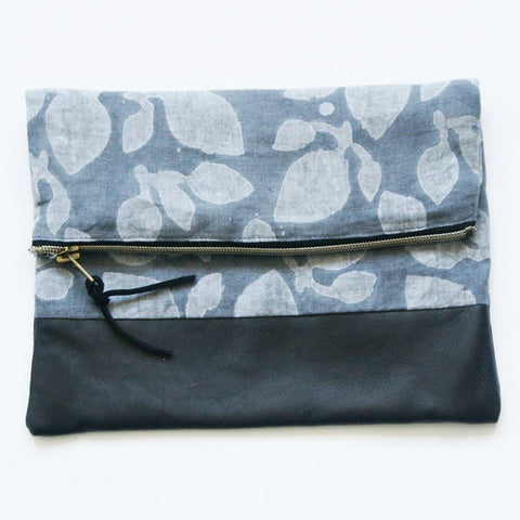 Fold Over Clutch Black Leather Grey Leaf Block Print Zipper Pouch
