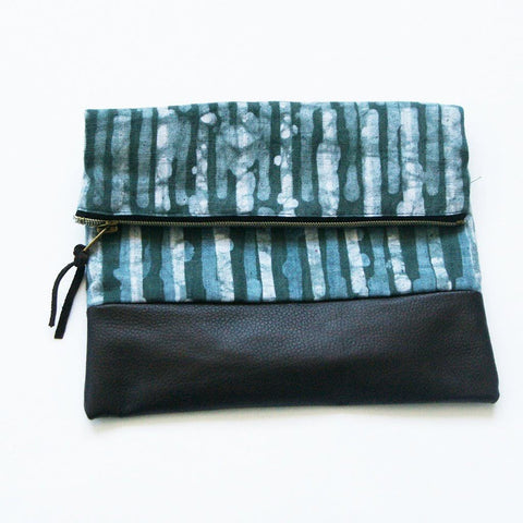 Sale: Fold Over Clutch Brown Leather Blue Green Stripe Zipper Pouch Evening Clutch