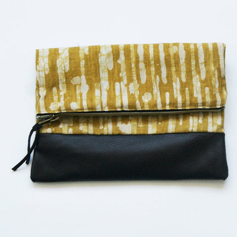 Sale: Fold Over Clutch Brown Leather Maize Gold Stripe Zipper Pouch Evening Clutch