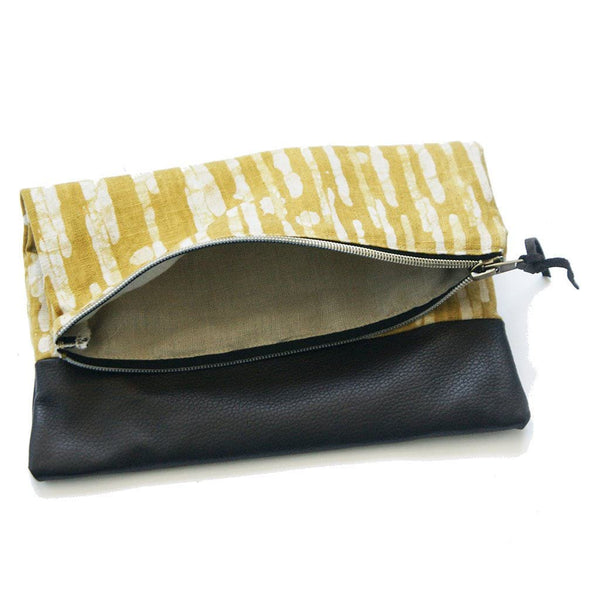 Fold Over Clutch Brown Leather Maize Gold Stripe Zipper Pouch