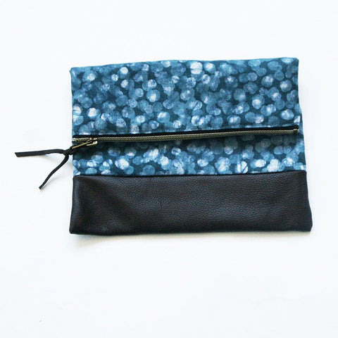 Sale: Fold Over Clutch Brown Leather Zipper Pouch Teal Dot Evening Clutch