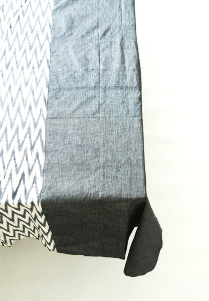 Grey Chevron Zig Zag Cotton Tablecloth Handwoven Ikat Stripe