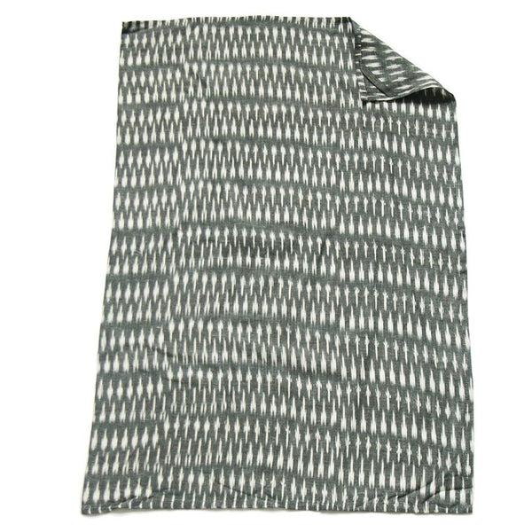 Grey White Dash Ikat Tea Towel