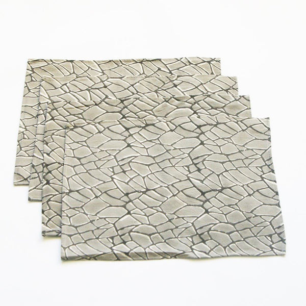 Grey Handprinted Placemat Set Gray Branch Print Set of 4