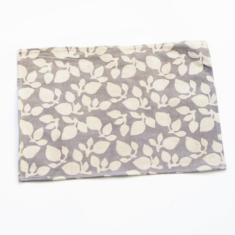 Handprinted Gray Leaf Print Placemat Set