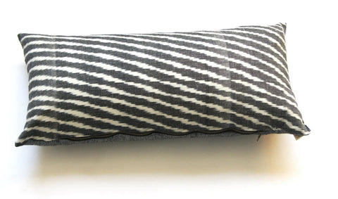 Grey Zebra Stripe Cotton Woven Ikat Lumbar Pillow 12 x 24