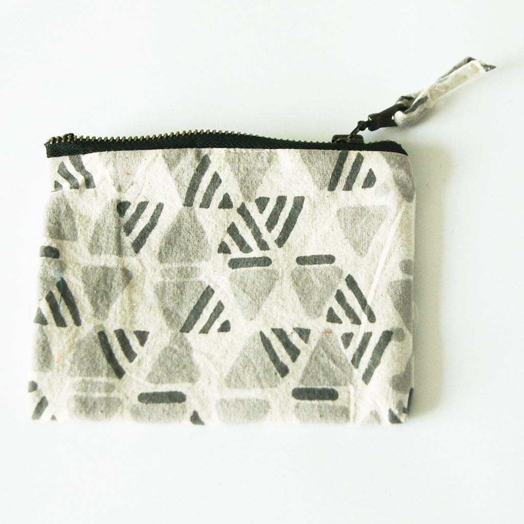 Grey Triangle Blockprinted Small Zipper Pouch