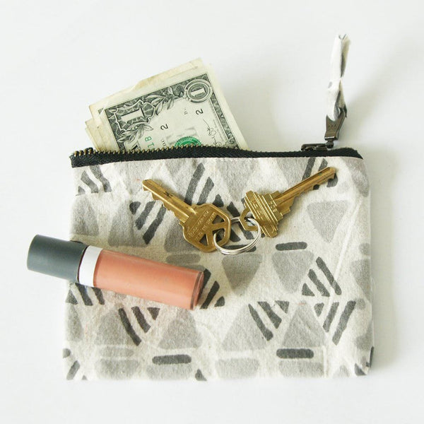 Handprinted Zipper Pouch Coin Purse Grey Geometric Wallet