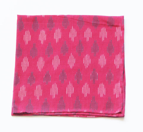 Handwoven Ikat Dot Hot Pink Cloth Dinner Napkin
