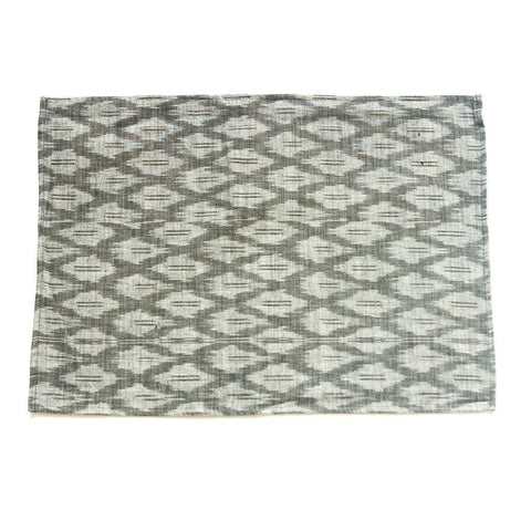 Ikat Cotton Cloth Placemat Handwoven Gray Ogee Set of 4
