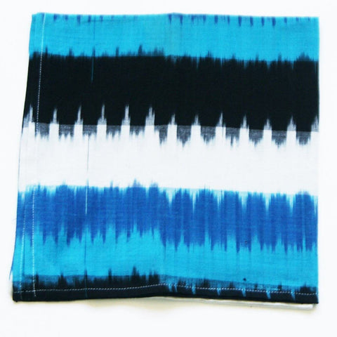 Ikat Dinner Napkin Set with Aqua Blue Wide Stripe