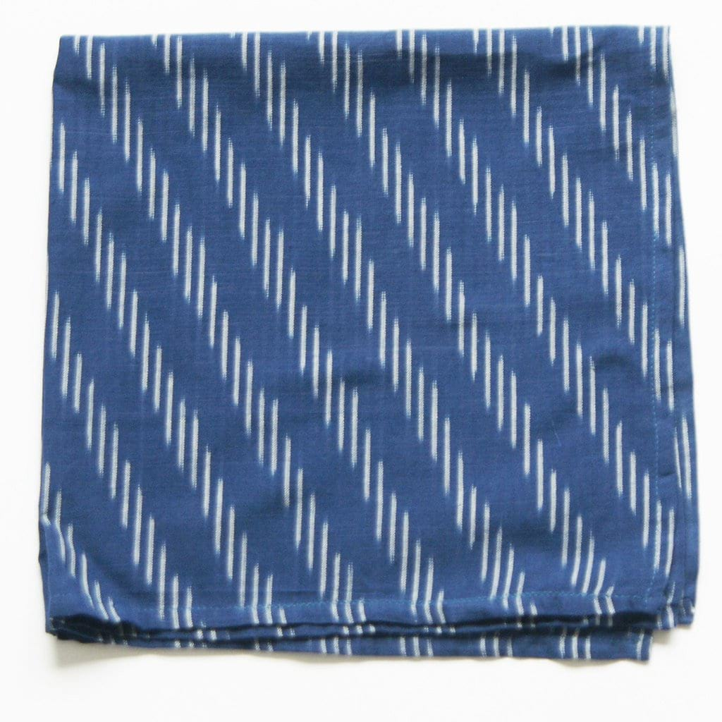 Indigo Blue Handwoven Ikat Dinner Napkin Diagonal Stripe