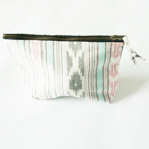 Ikat Stripe Cosmetic Bag Zipper Pouch - Bridesmaid Gift - Grey Pink Ikat