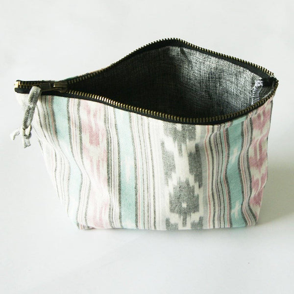 Ikat Stripe Cosmetic Bag Zipper Pouch Bridesmaid Gift Grey Pink Ikat