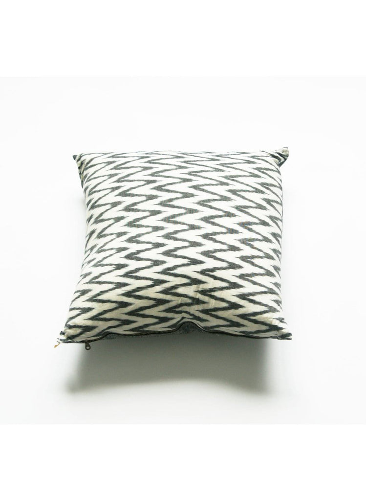 Ikat Throw Pillow Cover- Grey Zig Zag Chevron- Handwoven- 20x20