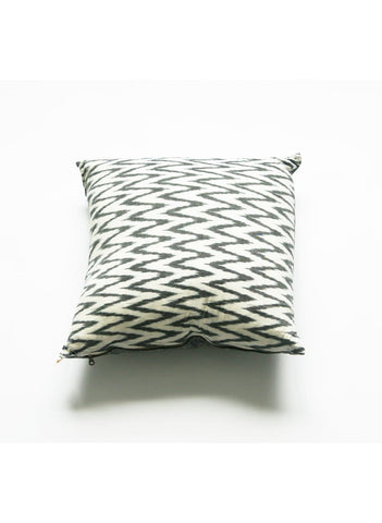 Grey and White Ikat Zig Zag Chevron Pillow Cover- 20 x 20