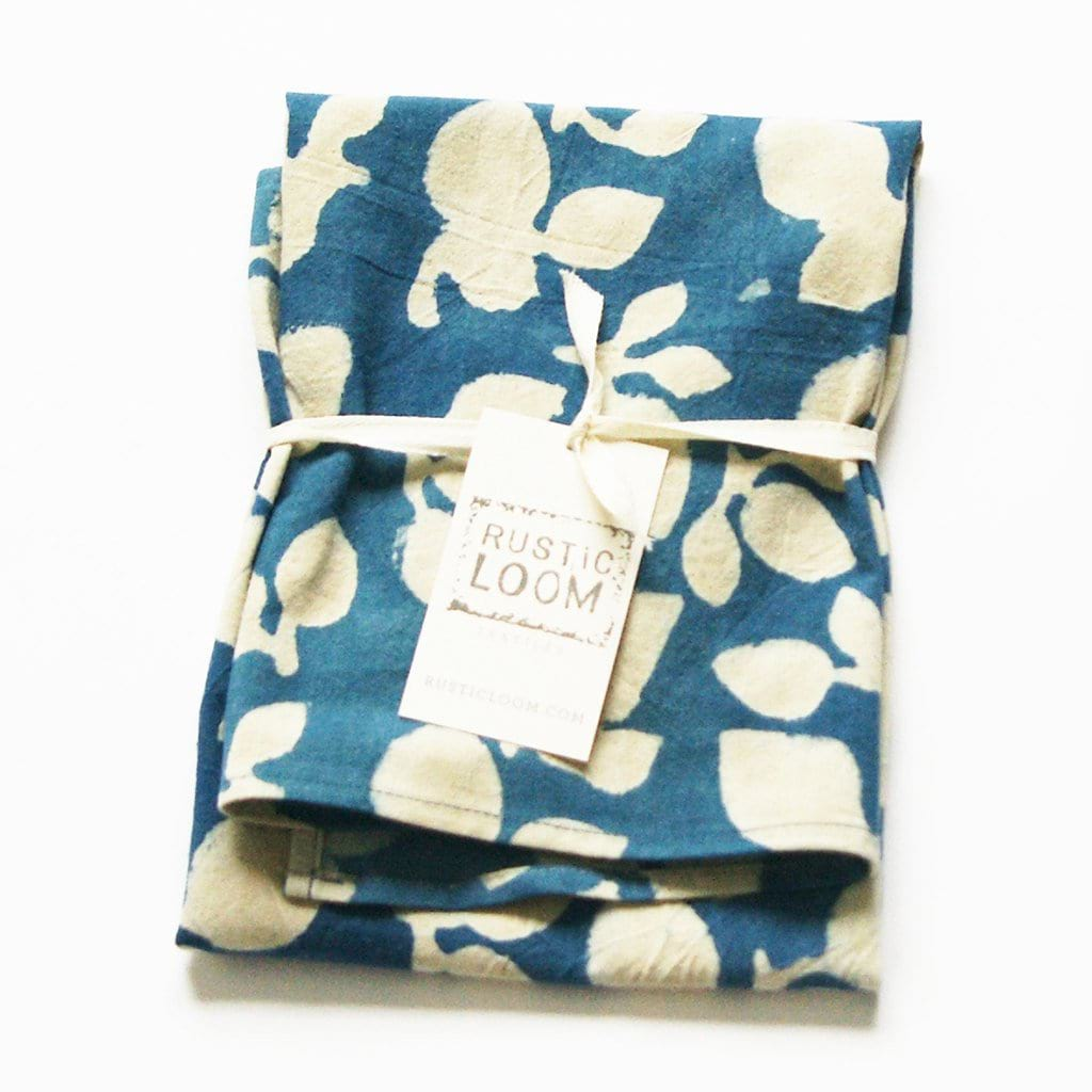 Indigo Blue Cotton Tea Towel Handprinted Leaf