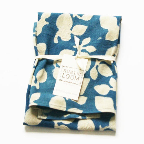Indigo Blue Cotton Tea Towel Handprinted Leaf Pattern