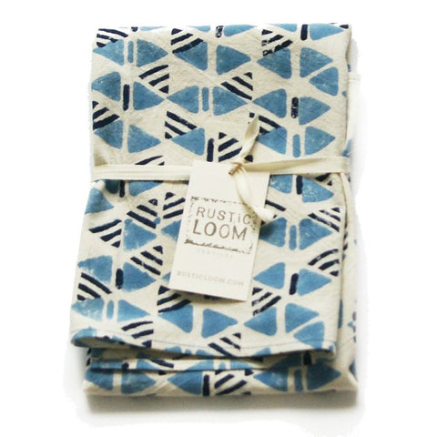 Indigo Blue Cotton Tea Towel Handprinted Triangle Geo Pattern