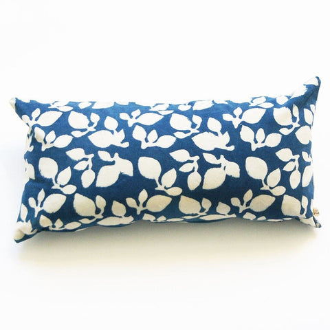 Indigo Blue Leaf Lumbar Pillow Sham Hand Block Printed