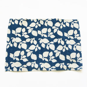 Indigo Handprinted Placemat Set Blue Leaf Print Set of 4