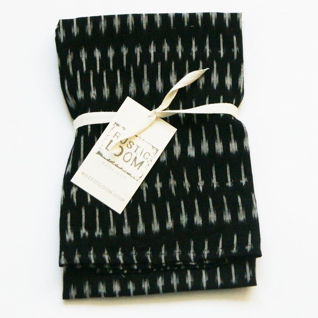 Black Grey Kitchen Tea Towel - Handwoven Cotton Ikat Dot