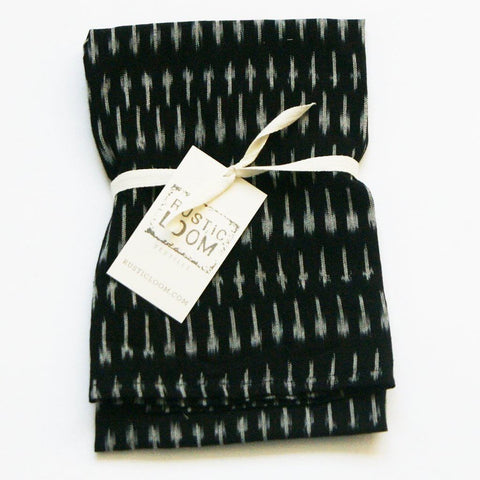 Black Grey Kitchen Tea Towel Handwoven Cotton Ikat Dot