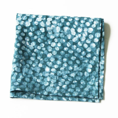 Teal Blue Dot Cloth Napkin Set Hand Batik Block Printed