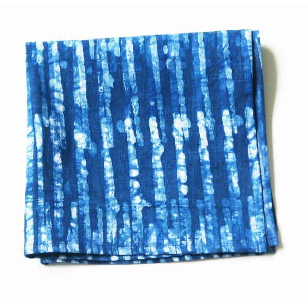 Linen Cloth Napkin Indigo Blue Stripe Hand Batik Block Printed