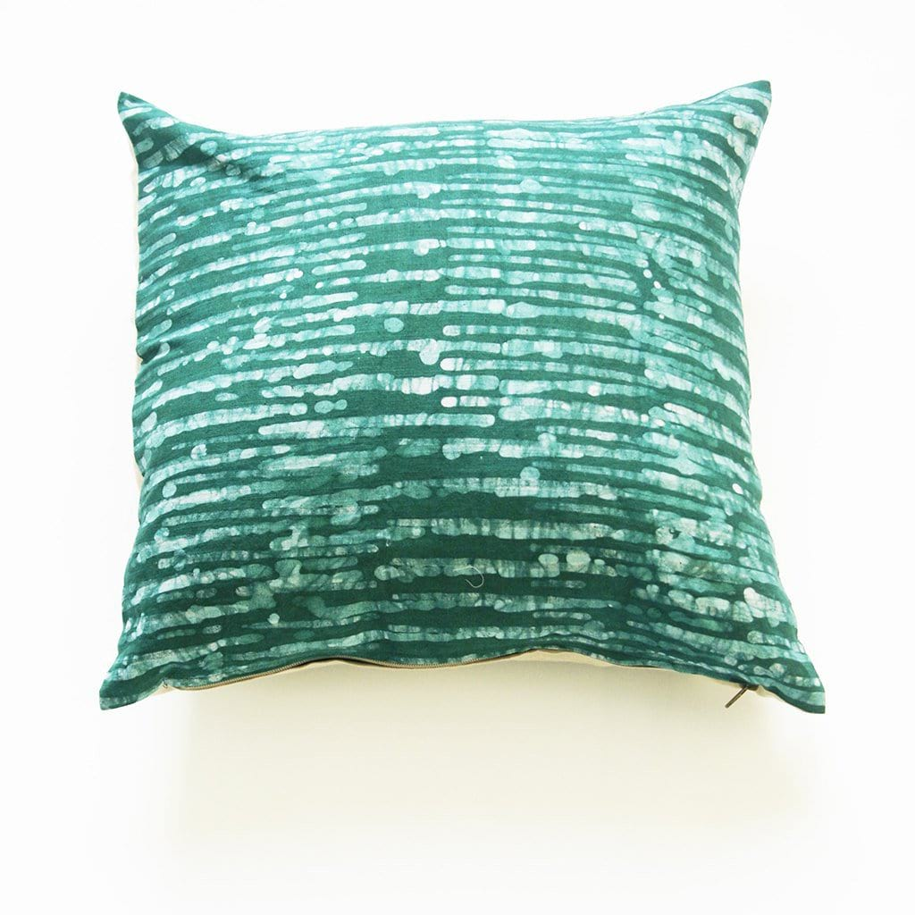 Emerald Green Thin Stripe Batik Blockprinted Linen Pillow Cover 20 x 20